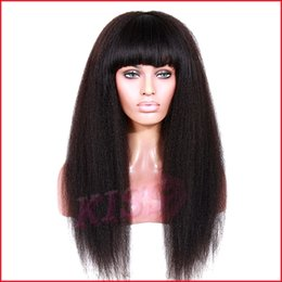 Wholesale Kinky Straight Glueless Lace Front - Glueless Bleached Knots Full Lace Brazilian Virgin Kinky Straight Wig For Black Women Brazilian Human Lace Wig With Baby Hair
