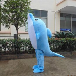 Wholesale Pictures Real Fish - customized mascots Real Pictures funny Marine animal dolphin mascot costume adlut happy fish cartoon character mascots for sale