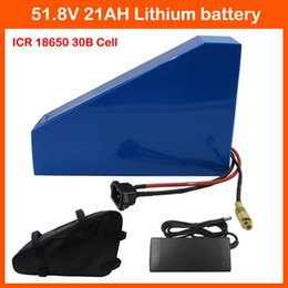 Wholesale Lithium Ion Electric Bike Batteries - 52V 1500W Triangle battery 51.8V 21AH Electric Bike 52V 21AH Lithium ion battery pack Use samsung 3000mah cell 58.8V 2A charger