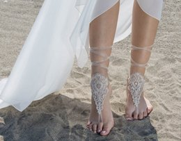 Wholesale Cheap Body Jewellery - Free Shipping Lace Anklets Wholesale Sandbeach Barefoot Jewellery Cheap Stretch Leg Bracelets For Wedding Bridal Bridesmaid Foot Jewelleries