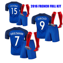 Wholesale France Football Kits - 2016 fRAnce Full Kits GRIEZMANN PAYET POGBA GIROUD football Suit home French soccer jerseys Soccer shirts Uniform Set Suit Kit With Socks
