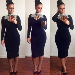 Wholesale Bodycon Purple Mermaid Dress - Sexy O Neck Mermaid Tea Length Black 2017 New Cocktail Dresses with Gold Sequins Bodycon Long Sleeve Evening Prom Gowns