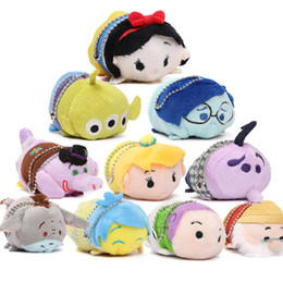 Wholesale Wholesale Plush Toys Keychains - 38styles 100pcs EMS In Stock Lovely 7-9cm Mini Lovely TSUM TSUM toy Animal plush Doll Baby Toys Alice Cinderalla Snow white Plush Keychains
