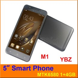 """Wholesale M1 Touch - YBZ M1 5"""" Smart Cell phone Android 6.0 MTK6580 Quad Core 4GB 1GB Mobile Phone Dual SIM Camera 3G WCDMA unlocked Smart Wake Smartphone by DHL"""