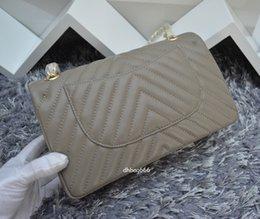 Wholesale Maxi Shop - 94305 brand new shoulder bag women double chains flap Paris fashion handbag top Maxi genuine leather grey bags female shopping tote gift