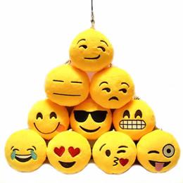Wholesale Plush Roses 12 - Wholesale-Wholesale New Cute Phone Emoji Emoticon Smiley Yellow Cushion Stuffed Plush Soft Chains Toy Mini Emoji Emoticon Toy