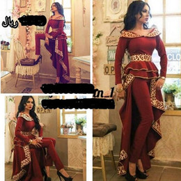 Wholesale pearl pants - 2017 Wine Red Prom Dress with Pants Gold Embroidery Long Sleeves with Peplum Two Pieces Set Party Suit