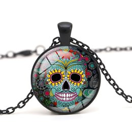 Wholesale Crystal Skull Pendant Necklace - Skeleton Crystal Glass Cabochon Dome Skull Pendant Necklace Halloween Gift for Women and Men Clothes Accessory Wholesale Jewelry