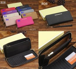 Wholesale Multi Color Stripe Wallet - Best quality leather fashion zipper multi-card lady designer hand wallets long section 9 color high-end brand purses with box