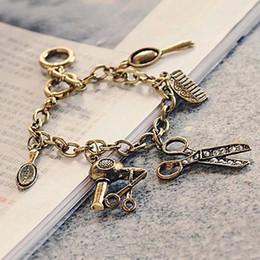 Wholesale Mirror Charms For Bracelets - 2016 Vintage Joker Bracelet Wristband Metal Scissor blower Mirror Punk Retro Charm Bracelet for women Jewelry Bijoux top quality