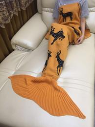 Wholesale Crochet Animal Cocoon - 180*90cm Christmas Mermaid Tail Blankets Crochet Mermaid Tail Sleeping Bags Cocoon Sofa Blankets skull deer Knit Blanket