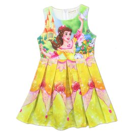 Wholesale Tutu Sizes For Kids - Beauty And The Beast Dress Kids Cartoon Party Princess dresses For Girls Sleeveless Summer Dress 5 Sizes Newest LC510