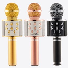 Wholesale Tablet Computer Cell Phone - WS-858 Wireless Speaker Microphone Portable Karaoke Hifi Bluetooth Player WS858 For iPhone 6 6s 7 iPad Samsung Tablets PC VS Q7 Q9