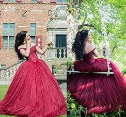 Wholesale pear wine - Dark Red Ball Gown Prom Dresses Off Shoulder Appliques Tulle Lace Up Back Burgundy Wine Red Evening Gowns Quinceanera Dresses Sweet 16 Dress