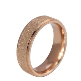 Wholesale Polish Rose Ring - Fashion Dull Polished Titanium Stainless Steel Couples Rings Dainty Valentine's Rings 18k Rose Gold Lovers Rings High Qulaity