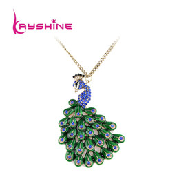 Wholesale Peacock Rhinestone Jewelry - Boho Style Jewelry Blue Hotpink Rhinestone Decoration Peacock Necklaces & Pendants for Women vintage accessories colliers
