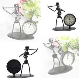 Wholesale Table Alarm Clocks Sale - Wholesale- Hot Sales Iron Violin Tabletop Table Clock Home Decoration Gift Black