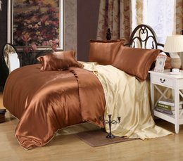 Wholesale Duvet Sets Silk - Wholesale-Hot sale High quality Classic Imitate silk feel satin plain solid coffee black golden Bedding set Duvet cover Flat sheet