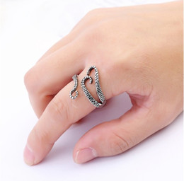 Wholesale Novelty Wedding Anniversary - Novelty Womens Rings Adjustable Titanium Steel Pirate Octopus Tentacles Black S-shaped One Size Opening Ring