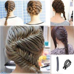 Wholesale Hair Band Hooks - New Fashion Style French Hair Braiding Tool Braider Roller Hook With Magic Hair Braid Twist Styling Bun Maker Hair Band Accessories 0604113