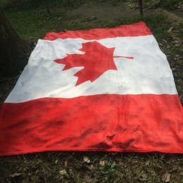Wholesale Beaches Canada - Hot Sale Canada Flag 150*200cm Soft Coral Velvet Beach Towel Blankets Air Conditioning Rugs Comfortable Carpet