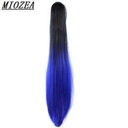 Wholesale Ponytail Synthetic - Hair Long Straight Ponytail Synthetic 24incClip On Hair High Temperature Fiber Ponytail Ombre Color multicolor