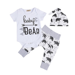 Wholesale Boys Outfits Sets - 2017 Newborn Clothing Sets Girls Boy Baby Bear Rompers Jumpsuits Pants Hat 3pcs Baby Coming Home Outfits Set