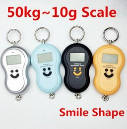 Wholesale Hanging Plastic Pockets - 50Kg 10g Portable Handy Pocket Smile Mini Electronic Digital LCD Scale Hanging Fishing Hook Lage Balance Weight Weighing Scales 5g gourd