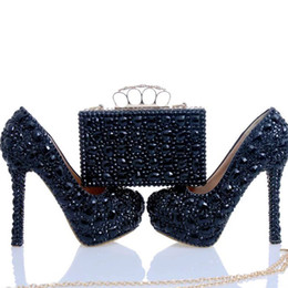 Wholesale Pump Clutch - Black Crystal Bridal Dress Shoes with Clutch Rhinestone Wedding Party Shoes Cinderella Prom Pumps Sexy Nightclub Party Heels