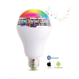 Wholesale Rf Bluetooth - Wholesale- Dimmable E27 10W RGB LED Bulb Bluetooth Lighting Lamp Color Adjustable Speaker Music Lights Bulb With RF 24key Remote Control