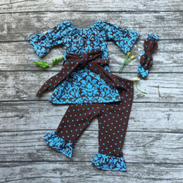 Wholesale Headband Navy - Wholesale- 2016 baby girls clothes Damask clothing brown navy blue outfit with belt bows girls polka dot ruffle pant with match headband