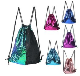 Wholesale Over Shoulder Bags Wholesale - Sequins Backpacks Mermaid 2017 Fashion Bags Drawstring Bags Mermaid Sequins Unique Sequins Outdoors Travel Shoulder Pouch Storage Bags