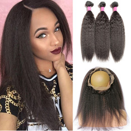 Wholesale Coarse Yaki Lace - Pre Plucked 360 Lace Frontal With Bundles Peruvian Kinky Straight Human Hair With Lace Closure Coarse Yaki 360 Full Frontals With 3 Bundles