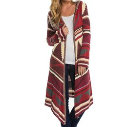 cotton knit cardigan plus size Coupons - Wholesale- Kimono Cardigan Sweater 2017 Women Geometric Printed Long Sleeve Cotton Coat Fashion Hooded Knitted Poncho Tops Plus Size Coats