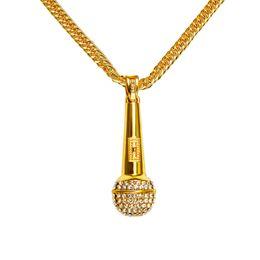 Wholesale Rhinestone Microphone - Rock Punk Microphone Pendant Necklace Men Women Long Chain Bling Crystal Rhinestone Microphone Hip Hop Jewelry