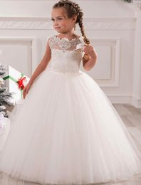 Wholesale Girls Tull Dresses - Don's Bridal 2017 White Ivory Cute Lace First Communion Dresses Tull And Organza Ball Gown Flower Girl Dress