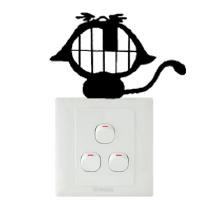 Wholesale Laugh Decor - Lovely cat laughing switch laptop cup family Wall stickers decoration decor home decals fashion waterproof bedroom living sofa