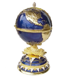 Wholesale Globe Rings - Globe Faberge Inspired Egg trinket box Russian craft metal jewerly ring box bejeweled bling jewelry birthday gifts collectibles