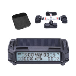 Wholesale Launch Ecu Diagnostic Tools - Solar Power Wireless LCD Display TPMS with 4 Internal Sensor 2017 New Car Tire Pressure Monitoring Intelligent system Free Shipping