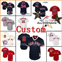 Wholesale Custom Jersey Embroidery - Custom Boston Red Sox 34# David Ortiz 9 Ted Williams Baseball Jerseys Chris Sale Benintendi Betts Pedroia Ramirez Embroidery jersey