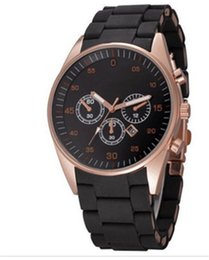 Wholesale Top Cheap Watch Brands - Cheap Luxury Top brand Casual Classic men watches 3 Eyes Automatic Date Silicone Straps Quartz wrist watch For mens boy Relogio Masculino
