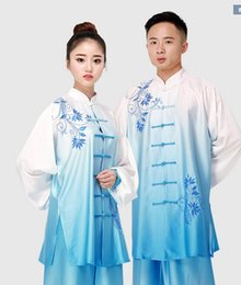 Wholesale Blue White Dress Porcelain - unisex stretch silk Tai chi performance suit dress clothing blue and white porcelain color embroidery martial arts clothing suit