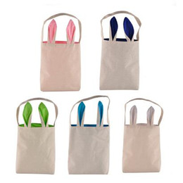 Wholesale Easter Door - 5 Colors Easter Bunny Bag Celebration Gifts Easter Hare Gifts Cotton Canvas Handbags Shopping Bag Easter Gift Storage Bags CCA7534 120pcs