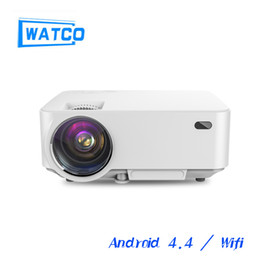 Wholesale Beamer Wifi Android - Wholesale-2016 M1A Android projector WiFi Smart Proyector 1500lms 1080P lcd video Home theater 3D Full HD LCD Beamer for meeting