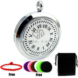 Wholesale Clock Locket Necklaces - Round Steel Clock Desgin (20-30mm) Stainless Steel Essential Oils Diffuser Locket Aromatherapy Locket Pendant with Chain