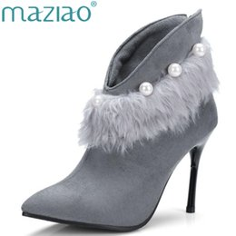 Wholesale Sexy Shoes Small Heels - Women Sexy Ankle Boots Pearl decoration Pointed toe fur boots small big size 33-43 Winter Autumn shoes high heels boots