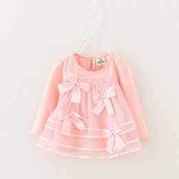 Wholesale Lace Butterfly Sleeve Top - Wholesale- 2016 sales hot baby clothes new casual girl top children lace butterfly knot dress long sleeve children's clothes Free shipping