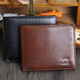 Plegado de tres tarjetas online-Nuevo Vintage PU para hombre Carteras Fine Bifold Marrón Negro Cuero de la PU Tarjeta de crédito Cool tri fold Wallet para hombres