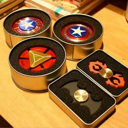 Wholesale Iron Man Retail Box - Creative Captain America Shield Hand Spinner Iron Man Fidget Alloy Puzzle Toys EDC Autism ADHD Finger Gyro Toy Adult Gifts with Retail box