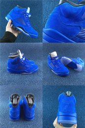Wholesale Red Light Products - 2017 With Box New Products Men's Basketball Shoes 5 Blue Red Suede Game Royal Sneakers US8-US13 Trainers